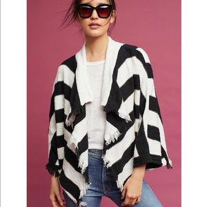 MOTH Devra fringed striped draped front cardigan